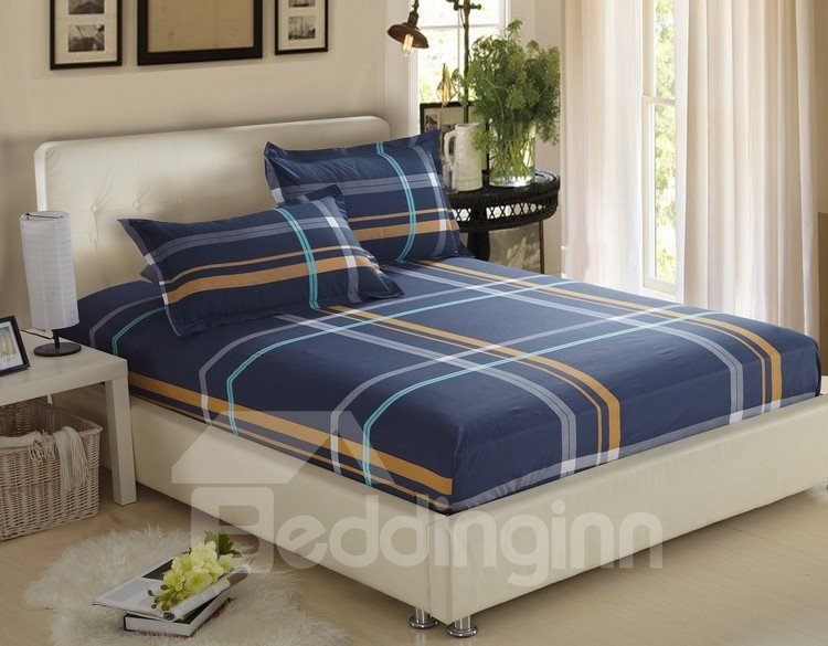 Gentle Stripe Print Dark Blue 100% Cotton 4 Piece Discount Bedding sets With Fitted Sheet