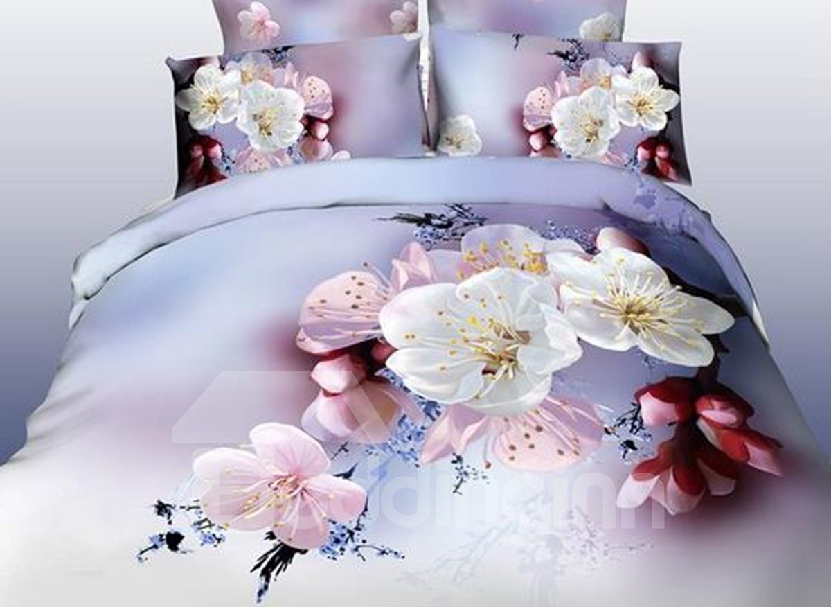 3D Pink and White Cherry Blossom Printed Cotton 4-Piece Bedding Sets