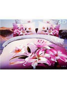 3D Pink Lily Printed 4-Piece Polyester Duvet Cover Sets