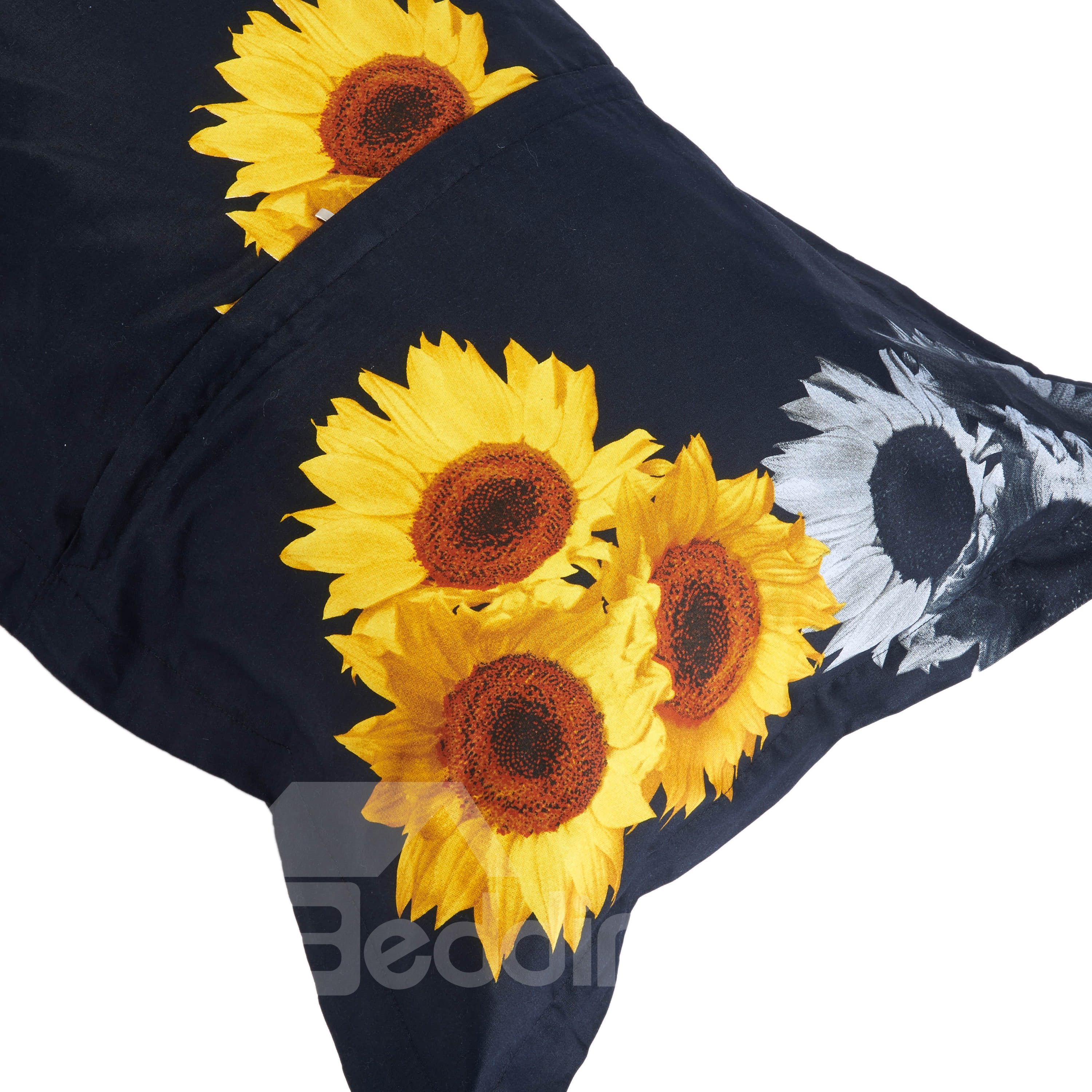 3D Sunflower Leopard Printed Cotton 4-Piece Black Bedding Sets/Duvet Cover