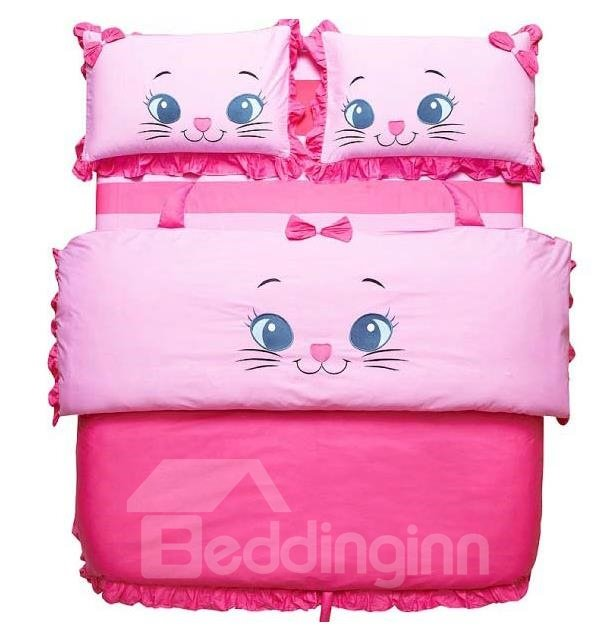 100% Cotton Princess Style Cartoon Cat 4 Piece Bedding Sets/Duvet Cover Sets