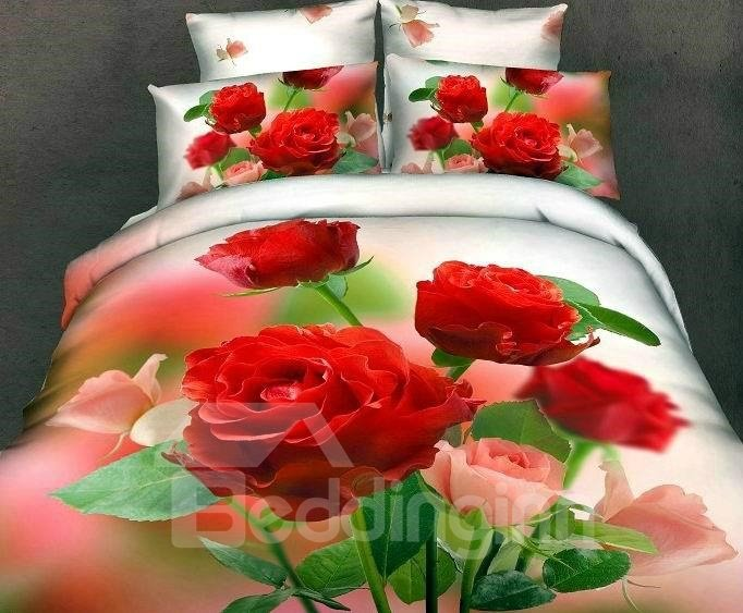 New Arrival High Quality 100% Cotton Gorgeous Flowers 4 Piece Bedding Sets/Duvet Cover Sets