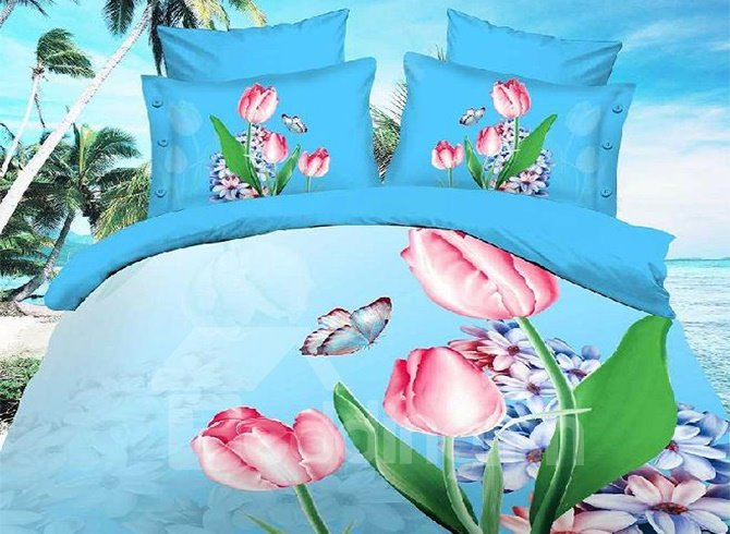 Trippingly Splendor Print 4 Piece Bedding Sets/Duvet Cover Sets
