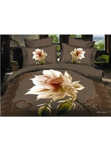 Splendid 3D White Flower Printed 4-Piece Polyester Duvet Cover