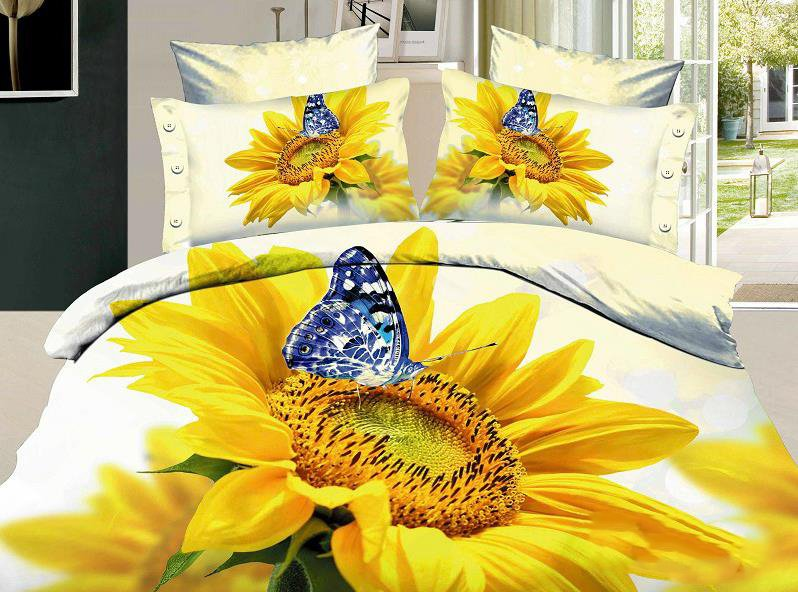 100% Cotton Butterfly and Sunflower 3D Printed 4-Piece Duvet Cover Sets
