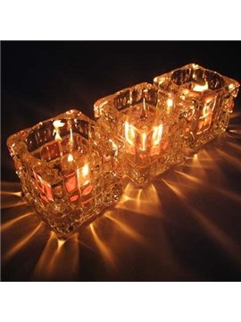 New Arrival 3-Pieces Crystal Glass Checkered Candle Holder