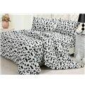 High Quality Super Soft Coral Fleece Cow Print 4 Piece Duvet Cover Sets