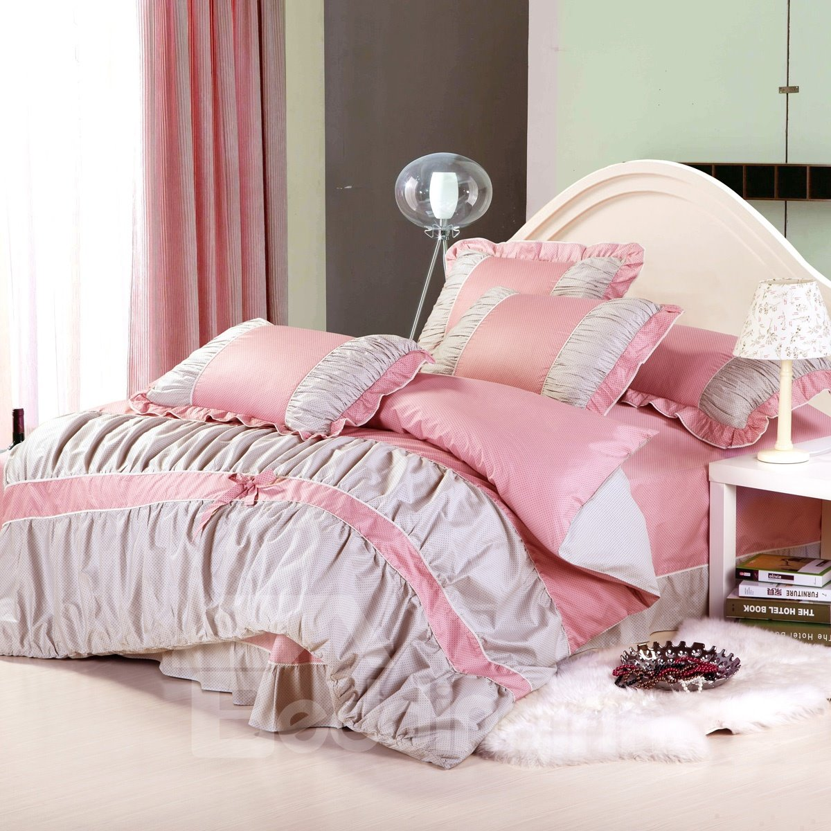 dot bowknot lace edge  piece pink and grey cotton bedding sets  -  dot bowknot lace edge  piece pink and grey cotton bedding sets