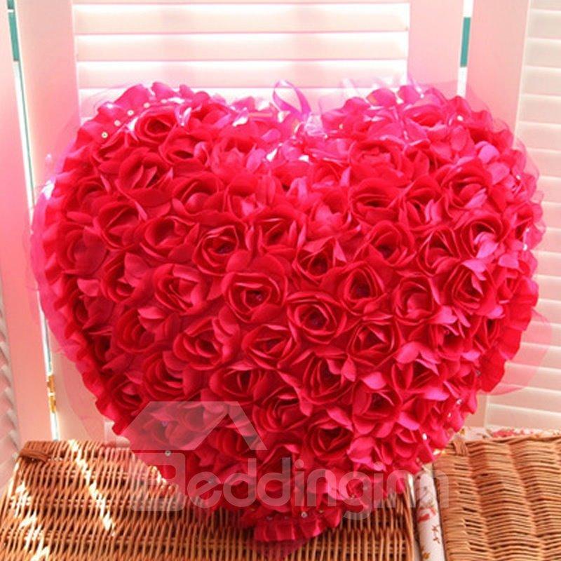 New Arrival Sweet Design Rose Love Heart Shape Throw Pillow