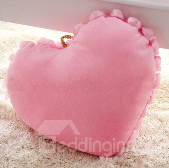 Lace Floral Edge Sweet Design Rose Love Heart Shape Throw Pillow