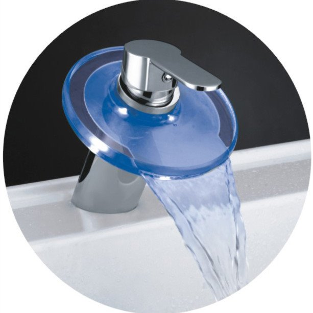 Single Handle LED Waterfall Temperature Control Three Color Changing Bathroom Sink Faucet with Hot and Cold Switch