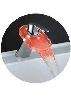 Single Handle LED Waterfall Temperature Control Three Color Changing Bathroom & Kitchen Faucet