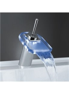 New Arrival Single Handle LED Waterfall Heat Discoloration Luminous Faucet for Bathroom/Kitchen