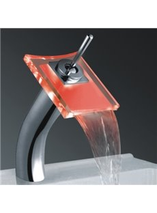 New Arrival Single Handle Waterfall LED Heat Discoloration Three Color Changing Bathroom&Kitchen Faucet