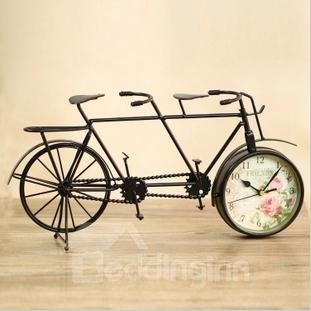 Creative Rustic Vintage Wrought Iron Bicycle Shape Mute Clock