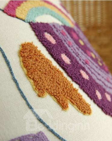 New Arrival Hand Embroidery Linen Cotton Fabric Rainbow Chicken Pillowcase