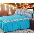 New Arrival 100% Cotton Korean Style Sexy Leopard Blue 4 Piece Bedding Sets/Duvet Cover Sets