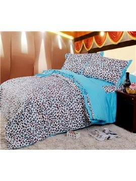 New Arrival 100% Cotton Korean Style Sexy Leopard Blue 4 Piece Bedding Sets/Duvet Cover Sets