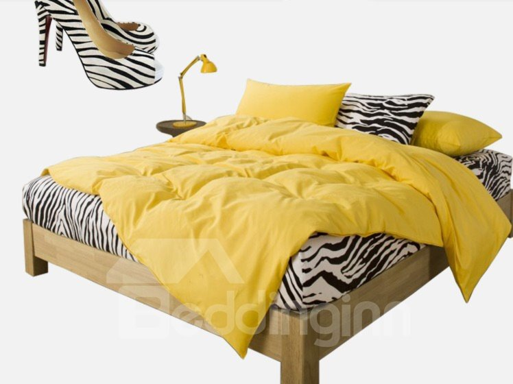 New Arrival 100% Cotton Korean Style Zebra Yellow 4 Piece Bedding Sets/Duvet Cover Sets