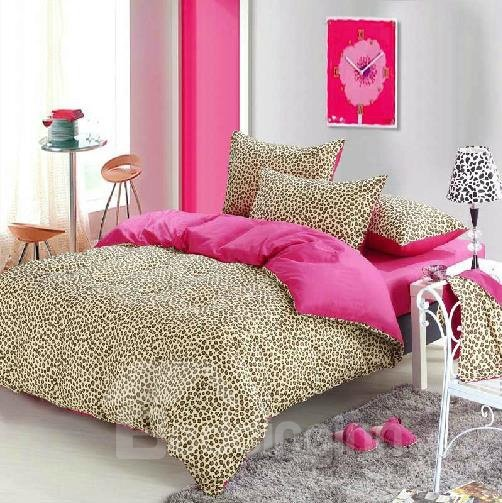 New Arrival 100% Cotton Fashion Sexy Leopard 4 Piece Bedding Sets/Duvet Cover Sets