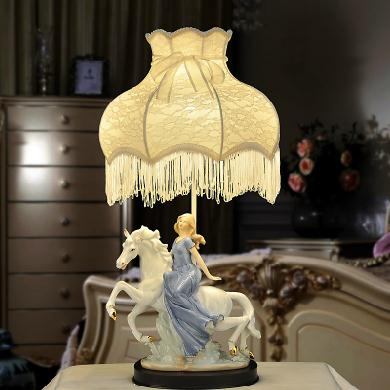 Elegant Ceramic Pretty Girl in White Horse Lace Table Lamp