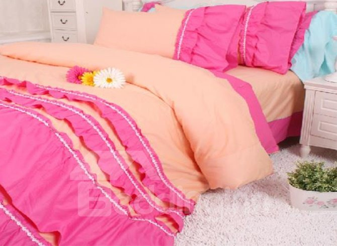 New Arrival Pastoral Style Lace Falbala Pink 4 Piece Bedding Sets /Duvet Cover Sets
