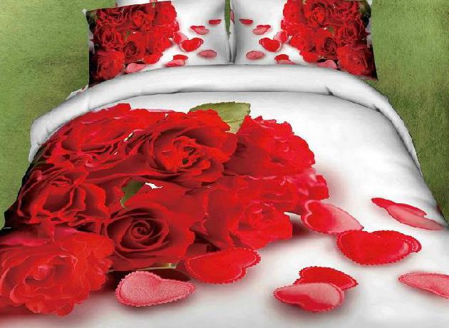 New Arrival Top Class 100% Cotton Bunch Roses Heart Shape Reactive Print 4 Piece Bedding Sets