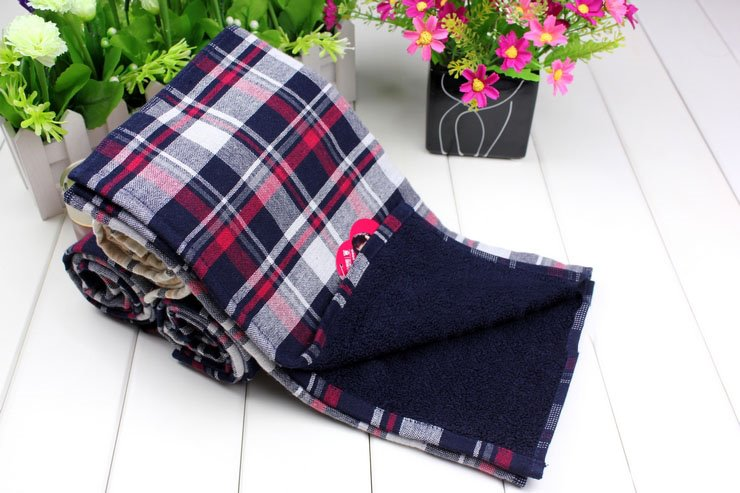 New Arrival Comfortable 100% Cotton Skin Care Classic Check Towel