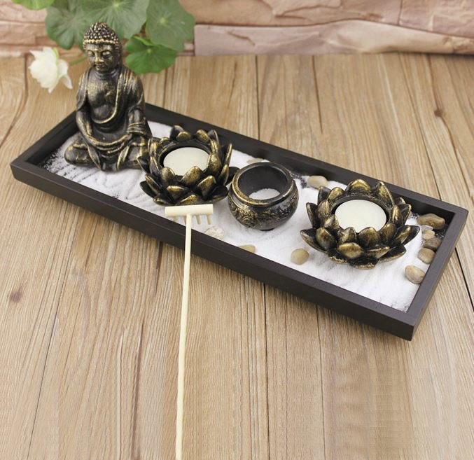 59 New Arrival Chinese Zen Buddha Sand Table Incense Burner Candle Holder
