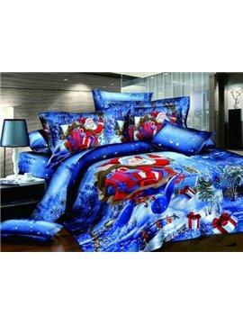 Christmas Gift Red Santa Claus Reactive Print 4 Piece Bedding Sets