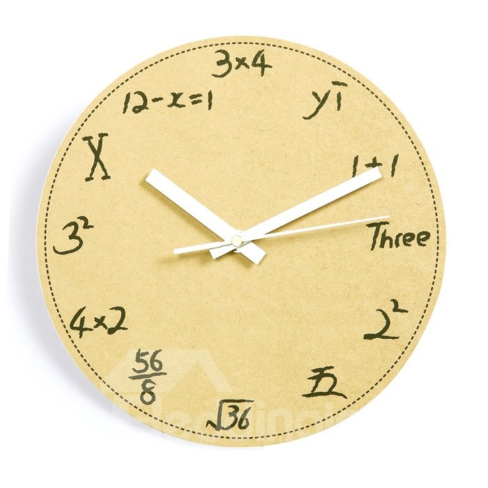 Creative Simple Mathematic Problem Wooden Mute Wall Clock