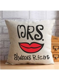 New Arrival Mr Right Mrs Always Right Whisker Lip Pattern Throw Pillow