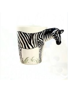 New Arrival Hand-painted 3D Ceramic Zebra Creative Mug
