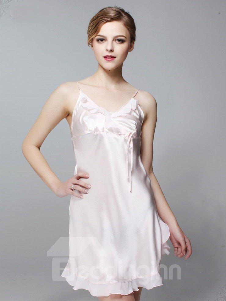 New Arrival Elegant Ruffles 100% Silk Comfortable Sleepwear