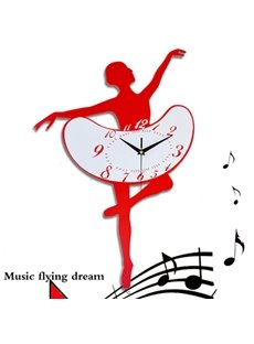 Creative Ballet Dancing Girl Acrylic Mute Wall Clock