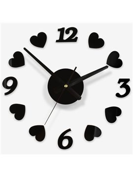 Red and Black Acrylic Round Heart-shape DIY Mute Artistic Wall Clock