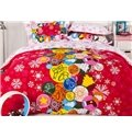 New Arrival High Quality Top Class 100% Cotton Happy Christmas Print 4 Piece Bedding Sets