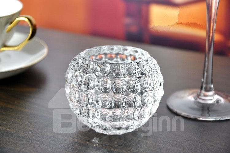 Simple Ice Hockey Shape Crystal Glass Candle Holder