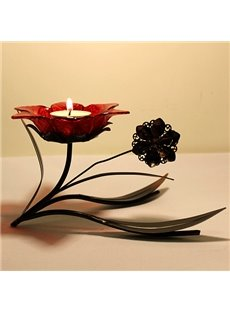 Wrought Iron Emulational Glass Flower Head Vintage Candle Holder