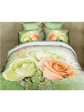 Mint Green and Pink Roses 3D Printed 4-Piece Cotton Duvet Cover Sets