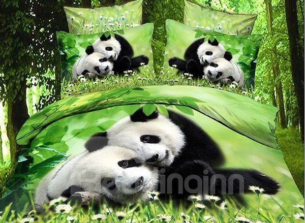 New Arrival Cute Snuggled Pandas Print 4 Piece Bedding Sets