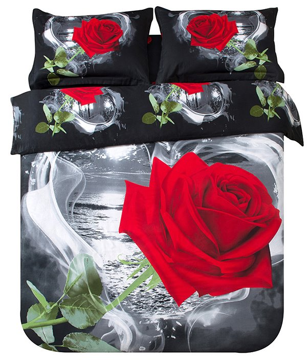 3D Red Rose in Heart Shape Printed Cotton 4-Piece Black Bedding Sets