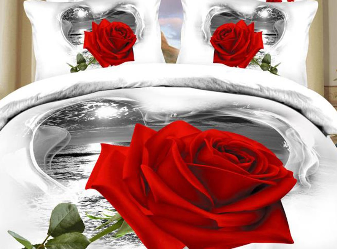 3d Red Rose Heart Shaped Cloud Printed 4 Piece White Pic