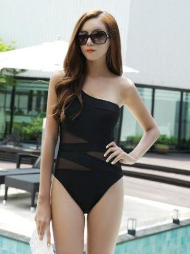 Black Women Hollow Mesh Swimwear One-Piece Tankini