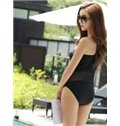 Sexy Black Hollow Mesh Swimwear with Falsies Freewire One-Piece Tankini