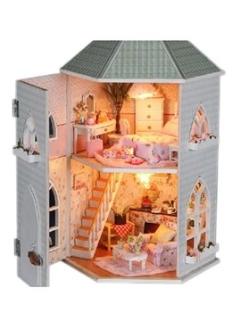 Deluxe Miniature DIY Dollhouse with LED Light Birthday Valentine Gift