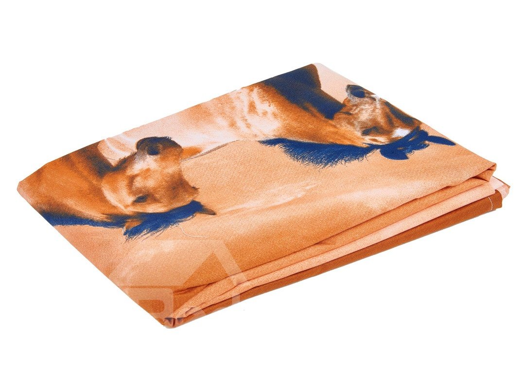 European Style Galloping Horse Reactive Print 4 Piece Polyester Bedding Set