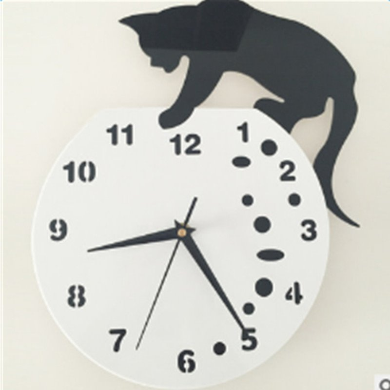 Naughty Acrylic DIY Dial and Hand Feature Cat Standing Wall Clock