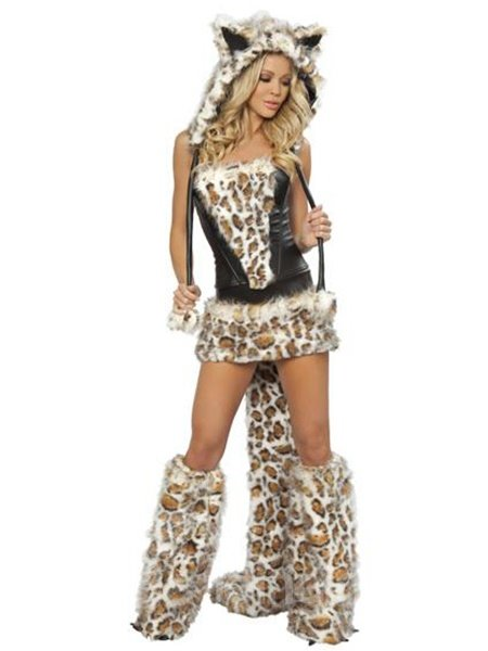 Sexy Frisky Cat Kitty Leopard Print Complete Costume