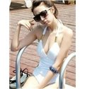 Solid Color Halter Beach Swimwear One-Piece Push Up Monokini